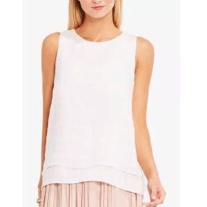 Vince Camuto Embroidered Stripe Top Sleeveless